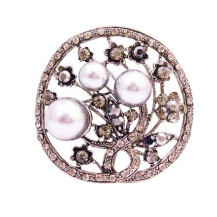 Smoky Gray Unique Christmas Gifts Pearls Black Diamond Crystals Round Brooch/Pin