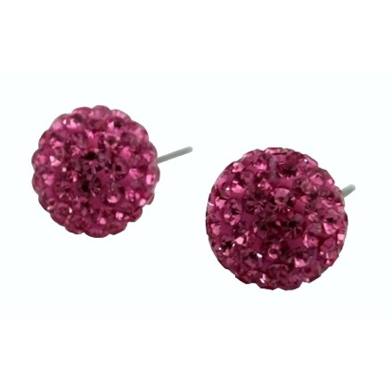 Pink/Rose Valentine Cubic Zircon Pave Earrings