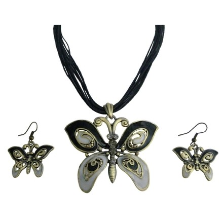 Black/Gray Vintage Rhinestone Enameled Butterfly Necklace Jewelry Set