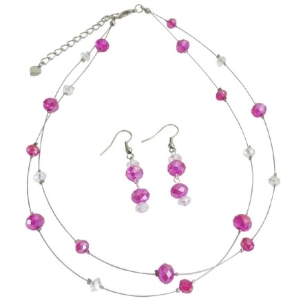 Fuchsia/Hot Pink Bridesmaid Necklace with Dangling Earrings Jewelry Set