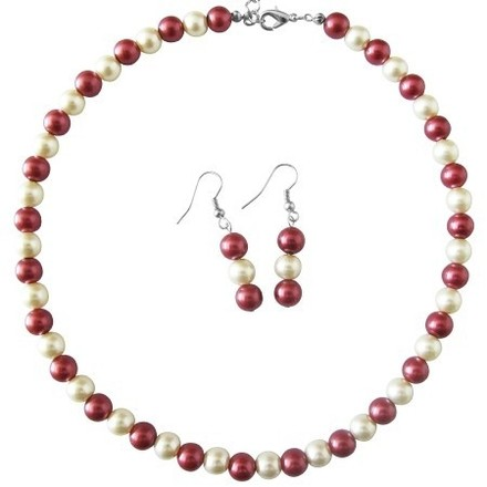 Red/White Cream Pearls Necklace Jewelry Set