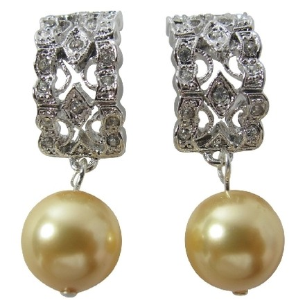 Fashion Jewelry For Everyone Yellow Erfect Pearl Rhinestones Earrings