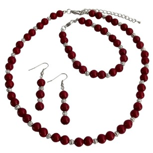 Fashion Jewelry For Everyone Gift Your Love On All Occasion Gift Red Pearls Silver Beads Jewelry Set