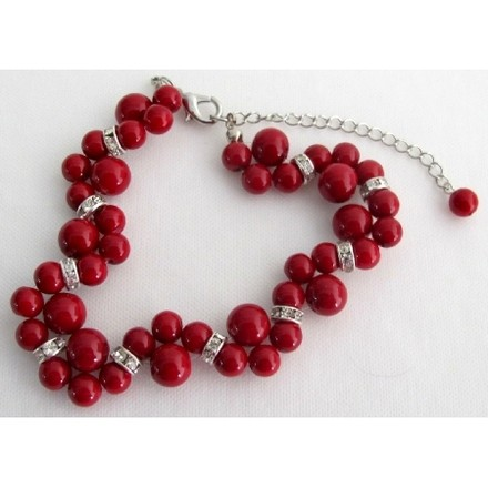 Fashion Jewelry For Everyone Red Holiday Gift Bracelet Twisted Pearl Handmade Artisan Earrings