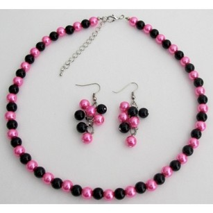 Fashion Jewelry For Everyone Hot Pink Black Pearl Jewelry Set Wedding Color Necklace Earrings