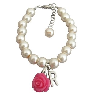 Fashion Jewelry For Everyone Ivory Pink Pearl Bracelet Flower Girl Personalize Bracelet W/ Initial