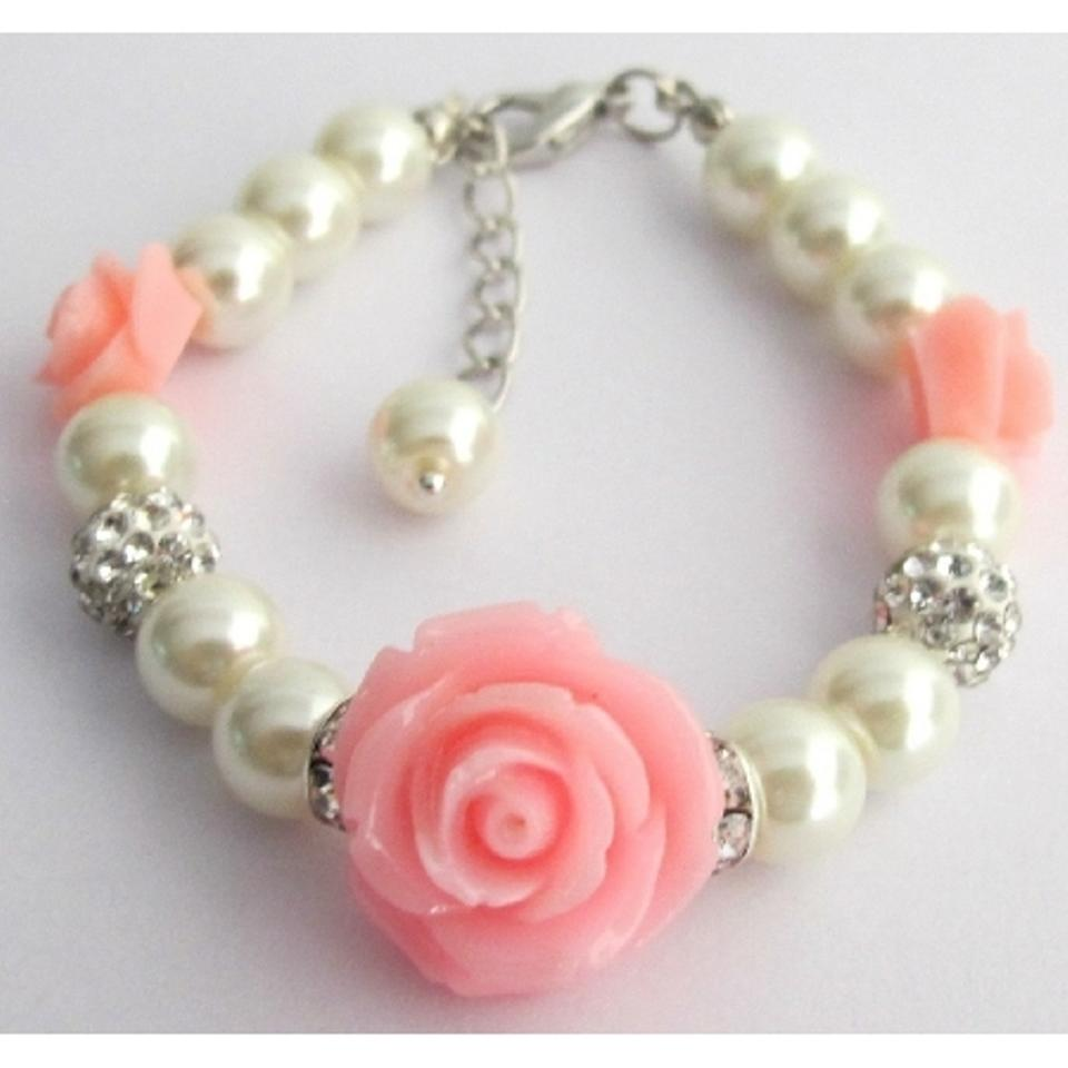 Fashion Jewelry For Everyone Ivory Lite Pink Flower Girl Rose Bracelet