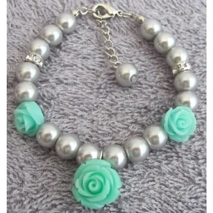 Fashion Jewelry For Everyone Mint Flower Charm Gray Pearl Rhinestone Flower Girl Charm Bracelet