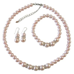 Fashion Jewelry For Everyone Pink Pearl Jewelry Set Bridal Bridesmaid Faux Pink Pearl Necklace Sterling Silver Earring W/ Stretchable Bracelet