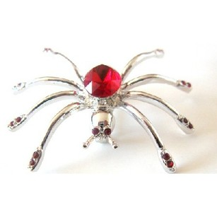 Fashion Jewelry For Everyone Siam Red Crystals Brooch Spider Brooch Halloween Jewelry Striking Pin