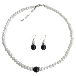 Fashion Jewelry For Everyone Special Pre Wedding Gift Flower Girl White Black Pearl Jewelry Set