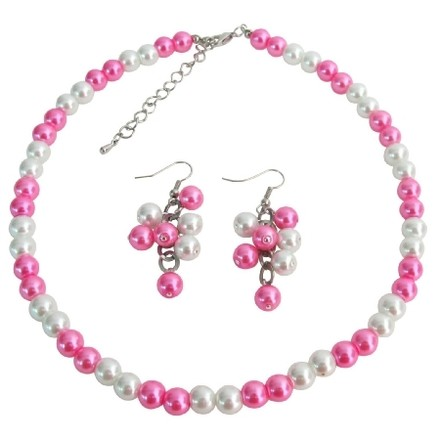Fashion Jewelry For Everyone Wedding Jewelry In White Hot Pink Cluster Jewelry Cluster Earrings Set Sku: Ns1401