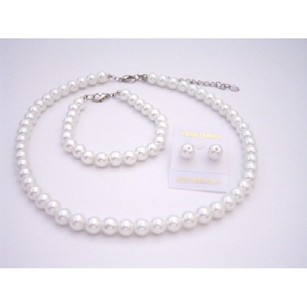 Fashion Jewelry For Everyone White Synthetic Pearls Bridesmaid Jewelry Set Stud Pearls Earrings Set