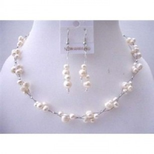 White Freshwater Pearls Choker Set Bridemaides Interwoven Wire Necklace Set W/ Dangling Earrings Jewelry Sets