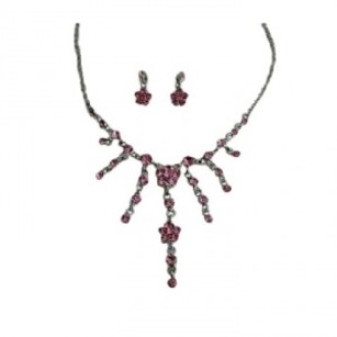 Fuschia Bright Pink Crystals Designer Gorgeous Pink Y Necklace Earring