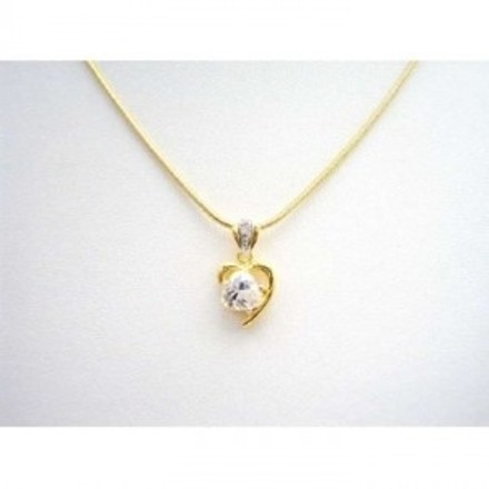 Golden Heart Pendant In Princess Cut Cz In Heart Shape Micron Gold Necklace Jewelry Set