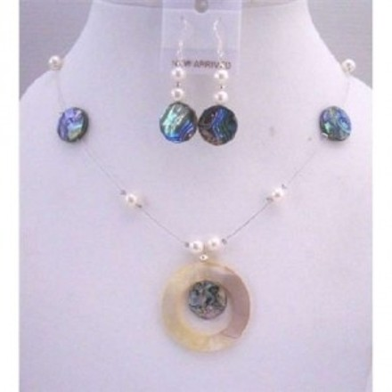 Blue Abalone Shell Round Pendant Freshwater Pearls Necklace Set