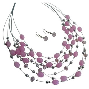 Pink Cool Multi Strand Necklace Beads Cute Earrings Jewelry Set