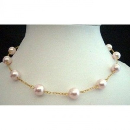 Handcrafted Choker 22k Gold Plated Chain W/ Genuine Swarovski Pearls