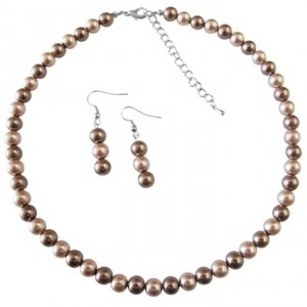 Girls Gift Necklace Champagne Pearls & Bronze Pearls Prom Jewelry Set