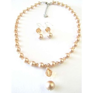 Custom Swarovski Champage Pearls Colorado Crystals Cute Drop Down Set