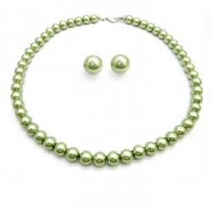 Inexpensive Peridot Jewelry Green Pearls Wedding Jewelry Set