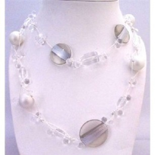 Purple Long Necklace White Pearls Clear Acrylic Beads Multi Shaped Size Beads Jewelry Set