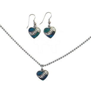 Valentine Gift Abalone Shell Heart Pendant & Earrings Jewelry Set