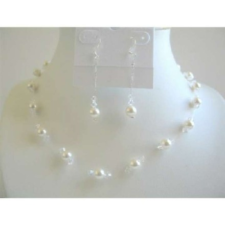 White Pearls Clear Crystals Necklace Bridal Bridesmaid Jewelry Set