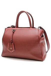 Fendi Saffiano Leather 2jours Elite Tote in Dark red