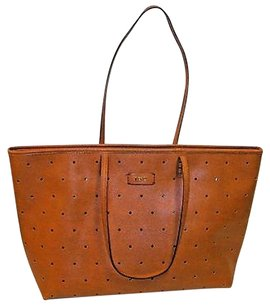 Fendi Burnt Roll Perforated In Zucca Leather Tote in Orange