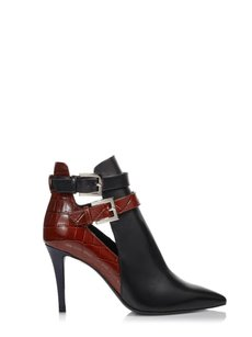 Fendi Leather Pointed Toe Ankle Black / Cuolo / Navy Boots