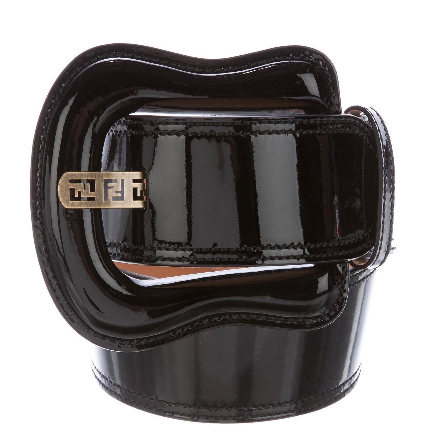 684237787deb ... sweden fendi black patent leather fendi zucca logo buckle waist belt xl  a21a1 38dab