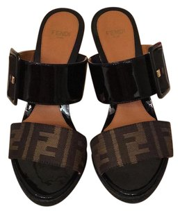 Fendi black tobacco Wedges