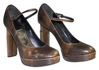 Fendi Leather Wood Grain Print Platform Mary Jane Triangle Heel Brown Pumps
