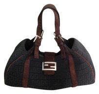 Fendi Wool Suede Trim Hobo Bag