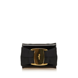 Salvatore Ferragamo Black Leather Metal Shoulder Bag