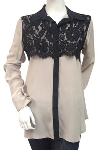 Fifteen Twenty Black Button Up With Tags Lace 100 Silk Top Beige