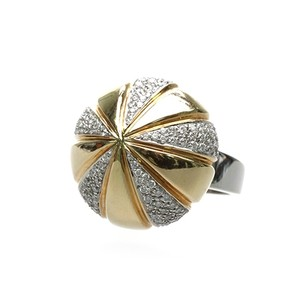 Other 18K Gold Two-Tone Diamond Round Cocktail Ring
