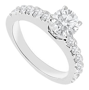 Fine Jewelry Vault 1 Carat Engagement Ring in 14K White Gold Triple AAA+ Quality of Cubic Zirconia