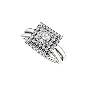Fine Jewelry Vault Glitzy Love Cubic Zirconia Double Halo Style Gold Ring