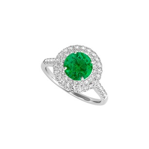 Fine Jewelry Vault White Gold Halo Engagement Ring With Created Emerald And Cz
