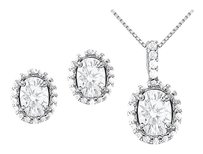 Fine Jewelry Vault April Birthstone CZ Halo Earrings and Pendant in Sterling Silver