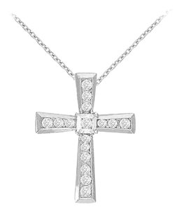 Fine Jewelry Vault April Birthstone Diamonds Cross Pendant in 14K White Gold