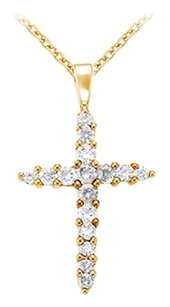 Fine Jewelry Vault April Birthstone Diamonds Cross Pendant in 14K Yellow Gold