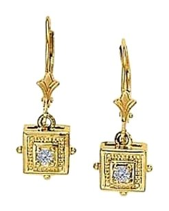 Fine Jewelry Vault April Birthstone Diamonds Square Earrings in 14K Yellow Gold