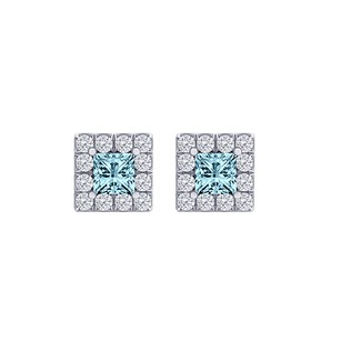 Fine Jewelry Vault Aquamarine CZ Square Halo Stud Earrings 14K White Gold
