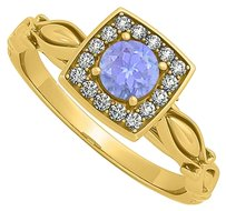 Fine Jewelry Vault Artful Yellow Gold Square Ring with Tanzanite and CZ
