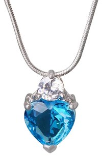 Fine Jewelry Vault Blue Gemstone Heart CZ Pendant in White Hue For Women