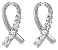 Fine Jewelry Vault Cancer Awareness Ribbon Diamond Earrings in 14K Gold